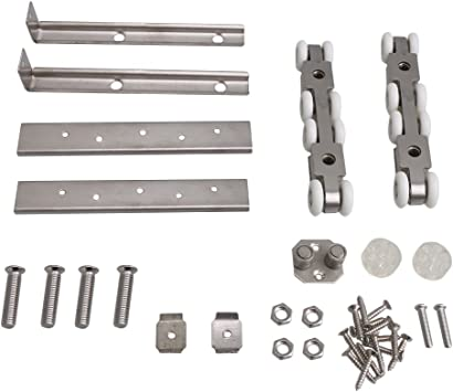 BQLZR 14,3 x 2,5 x 2,3 cm, rodillo de puerta corredera de acero inoxidable plateado, polea para colgar, 8 ruedas, juego para colgar puerta corredera: Amazon.es: Bricolaje y herramientas