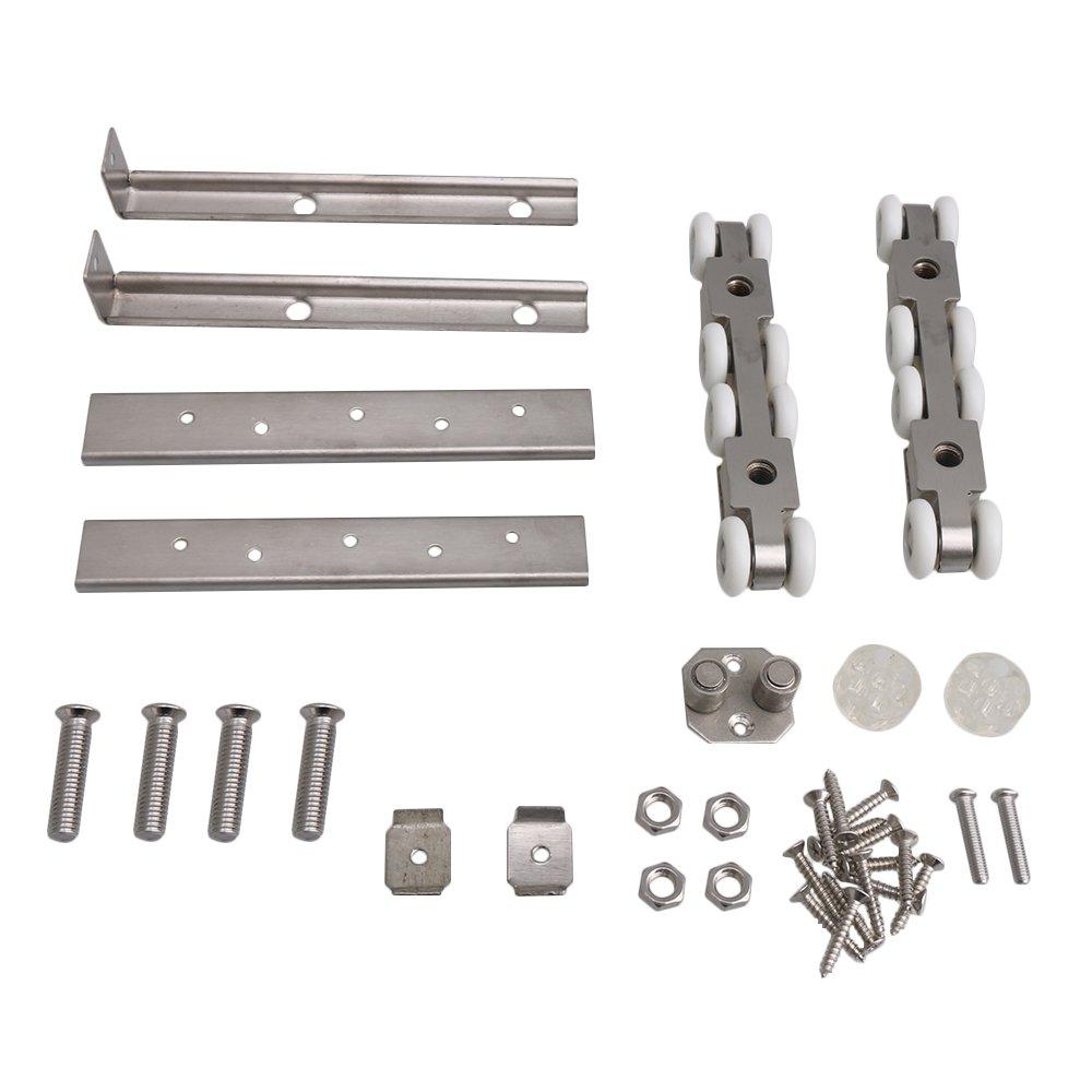 BQLZR 14,3 x 2,5 x 2,3 cm, rodillo de puerta corredera de acero inoxidable plateado, polea para colgar, 8 ruedas, juego para colgar puerta corredera: ...