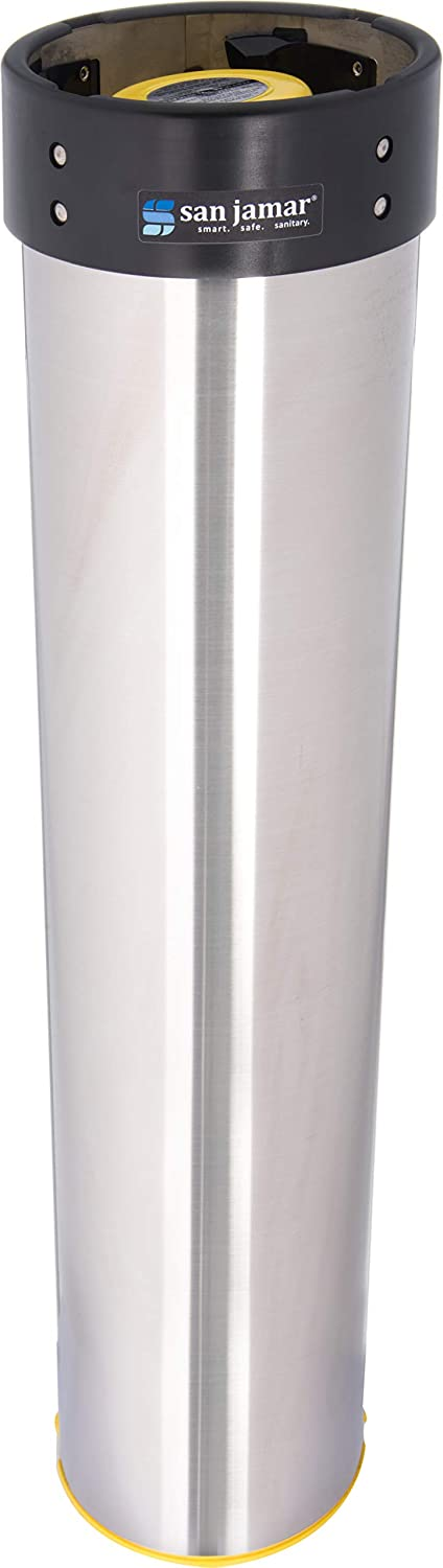San Jamar C3500E Stainless Steel Vertical Surface Mount Beverage Cup Dispenser, Fits 32oz to 46oz Cup Size, 4
