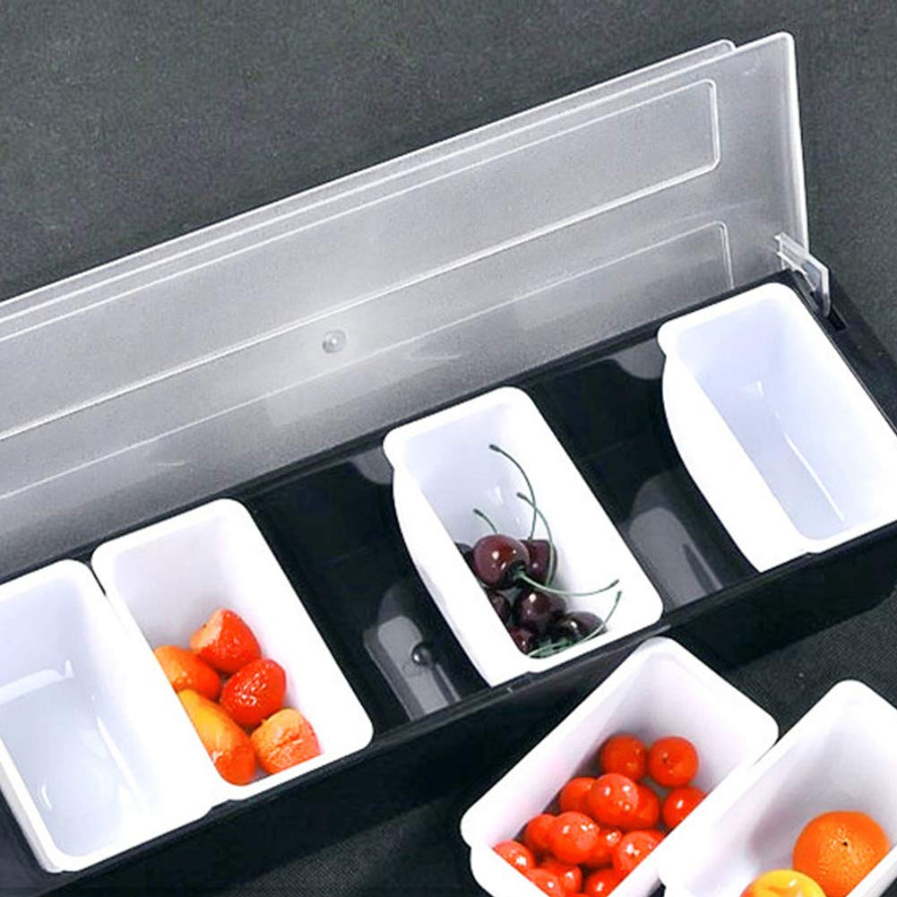 FEOOWV Condiment Server Caddy Container with Lid, Serving Tray for Fruit,Candy, Dips, Bar Restaurant Supplies,Garnish Organizer Box (6-Compartment) by FEOOWV (Image #3)