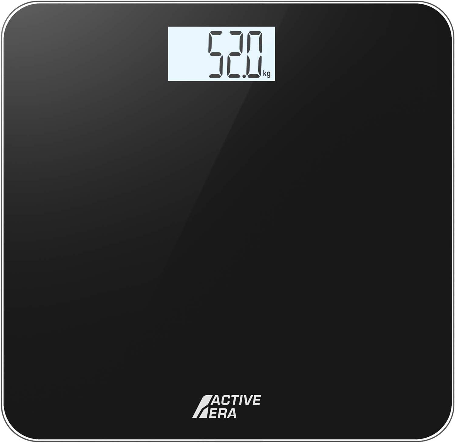 Active EraTM Báscula de Baño Digital Ultrafina con Sensores de Alta Precisión (stones/kgs/libras) - Negro