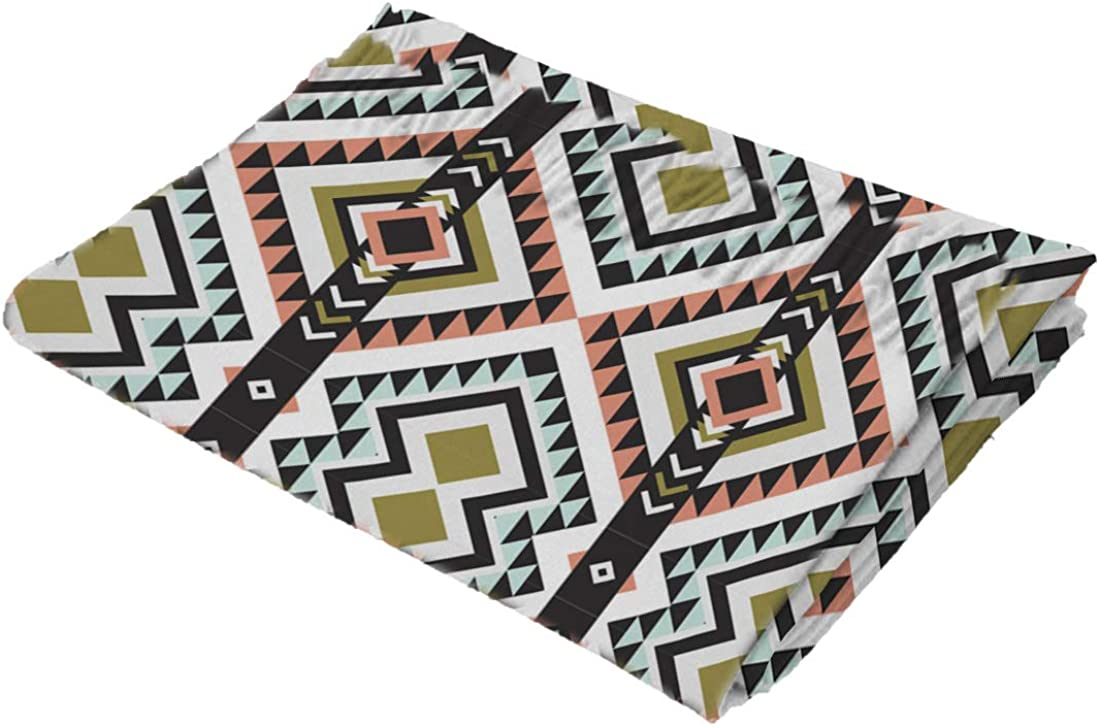 Geometric Patterned Striped Design Cashmere Feel Scarves with Tassels for Men Women