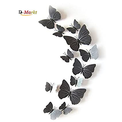 d85f3a3b4f 12 Pieces 3D Butterfly Stickrs Fashion Design DIY Wall Decoration House  Decoration Babyroom Decoration-BLACK: Amazon.co.uk: DIY & Tools