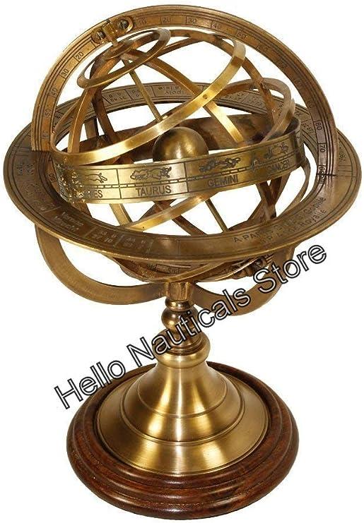 Vintage Brass Antique Tabletop Marine Sphere Globe Nautical Decor