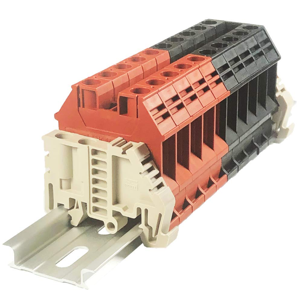 Dinkle Assembly DK10N Red/Black 10 Gang Box Connector DIN Rail Terminal Blocks, 6-20 AWG, 60 Amp, 600 Volt Separate Circuits