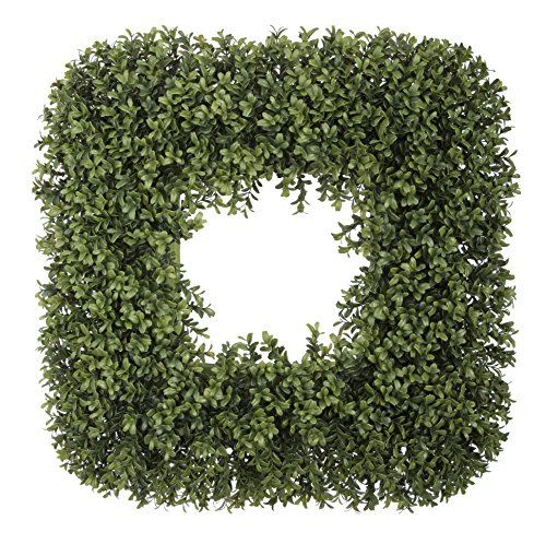 House of Silk Flowers Artificial Boxwood Square Wreath, 23""