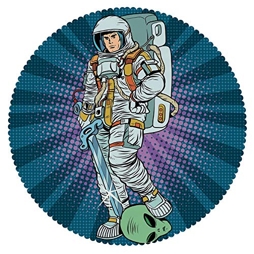 iPrint Multicolor Round Tablecloth [ Astronaut,Galaxy Warrior with Sword and Severed Alien Head Masculine Space Era Fighters Decorative,Teal Coconut ] Tablecloth Design