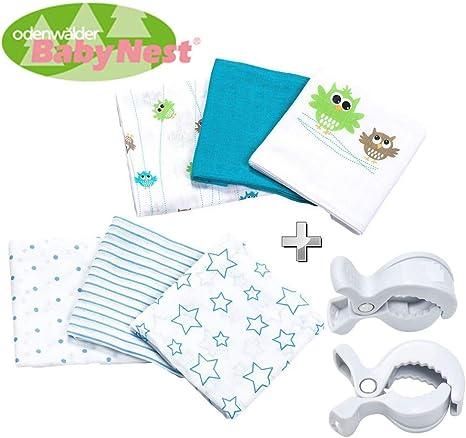 odenwälder Baby Nest pañales de tela//doble de Gasas//Vómitos//6 Pack Boy//Práctico tamaño 80 x 80 cm//Premium Calidad: Amazon.es: Bebé