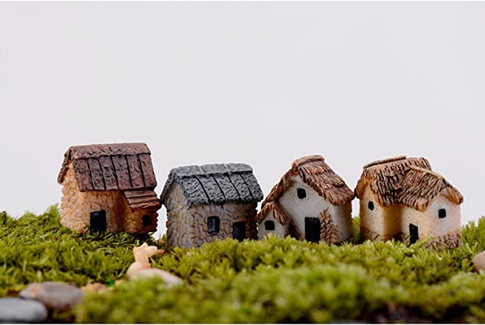 WINOMO 4PCS Miniature Gardening Landscape Micro Village Stone Houses Thumbnail House Thatched Huts DIY Bonsai Terrarium Crafts Desk Ornaments Accessories for Fairy Garden Decoration