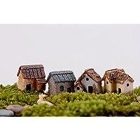 WINOMO 4PCS Miniature Gardening Landscape Micro Village Stone Houses Thumbnail House Thatched Huts DIY Bonsai Terrarium…