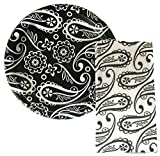 Black & White Party Supplies Paisley / Damask Plates & Black and White Napkins Party Set- 18 Count