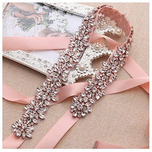 Detail Sash - Yanstar Handmade Rose Gold Wedding Belt Sash Blush Bridal Belts Sashes With Rhinestone Detail …