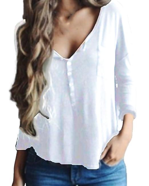 StyleDome Blusa Camisa Mujer Mangas Largas Cuello En V Elegante Algodón Playa Oficina Blanco S
