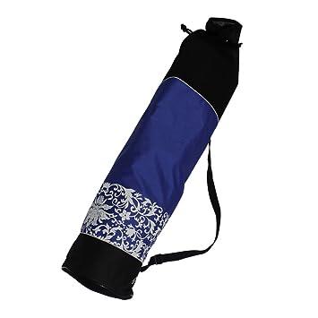 KurtzyTM Bolsa Colchoneta Yoga Lona Algodón Azul Negro Pilates con Morral Cordel Guardar Llevar
