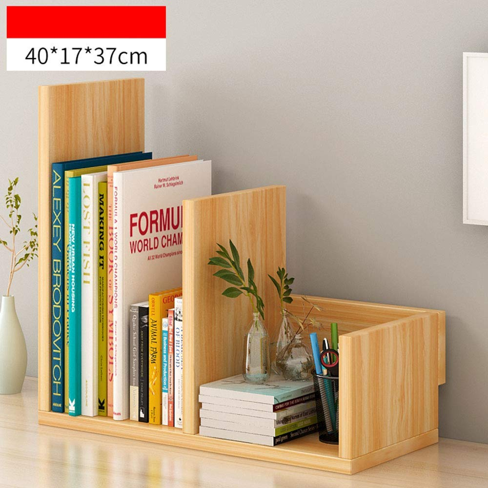 Wood-b Storage Shelf Bookshelf - Desktop Shelf Combination Bookcase - Desk Shelf Student Creative Cabinet (color   White-C) Home Stand (color   Light Walnut-c)