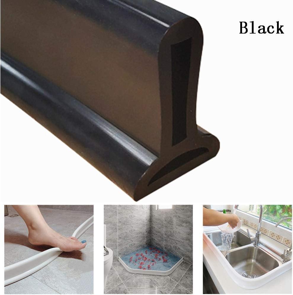 Black,140cm arr/êt d/écoulement deau de Joint de Plancher de Salle de Bains obturateur de Barrage deau de seuil de Douche KISSLIU Bande imperm/éable Pliable de Silicone