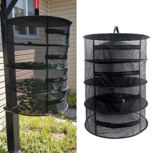 4 Layers Wire Mesh Hanging Net Drying Rack Outdoors Clothes