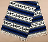 Mission Del Rey Old Mexican Style Woven Blanket with Traditional Designs & Colors for beds, Yoga, Pic Nic, Beach, Travel and Rustic Home Decor (Blue)