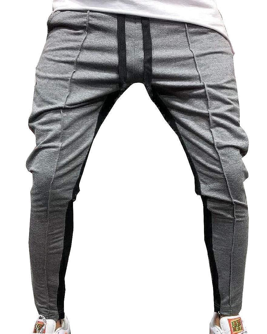 WSPLYSPJY Mens High Waist Drawstring Patchwork Long Pant Joggers