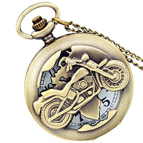 Lancardo Antique Brass Tone Motobike Hollow Skeleton Case Military Time Pocket Watch With Chain