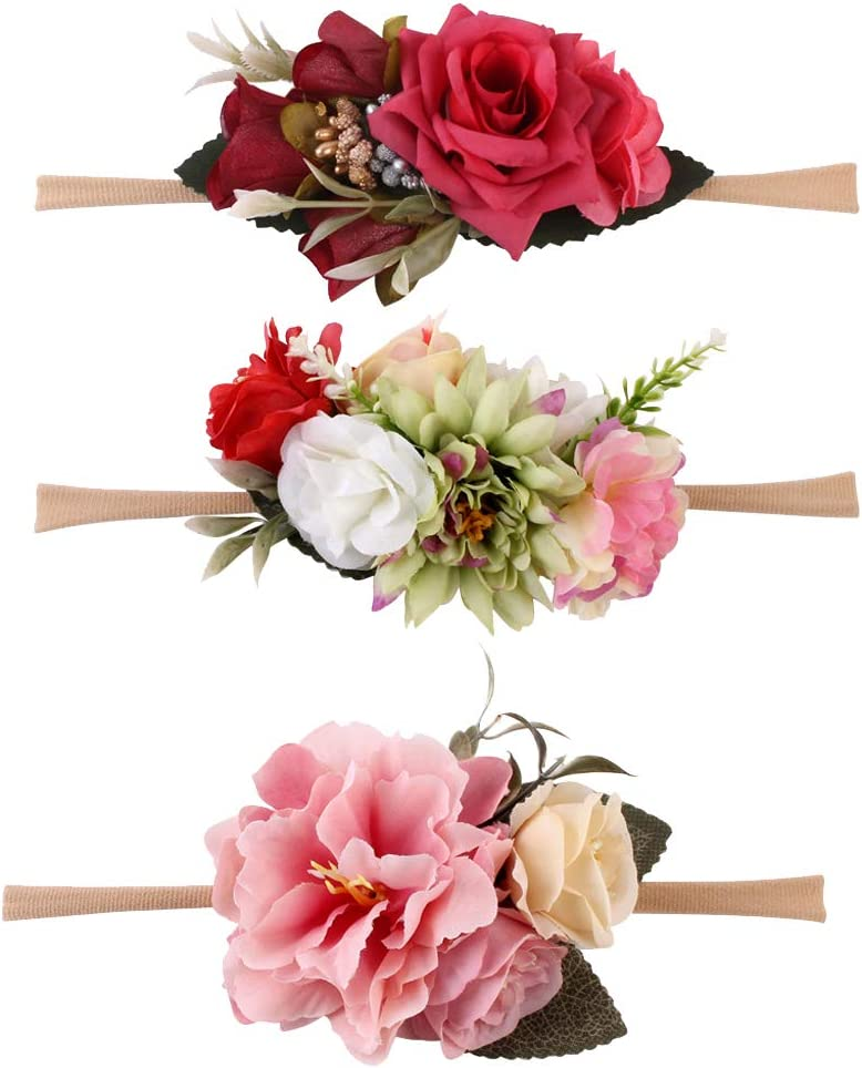 8 Types for Choose - G CUTICATE 3 Pieces Baby Girls Floral Headbands Nylon Flowers Crown Hair Bow Elastic Bands for Newborn Infant Toddlers Kids as described