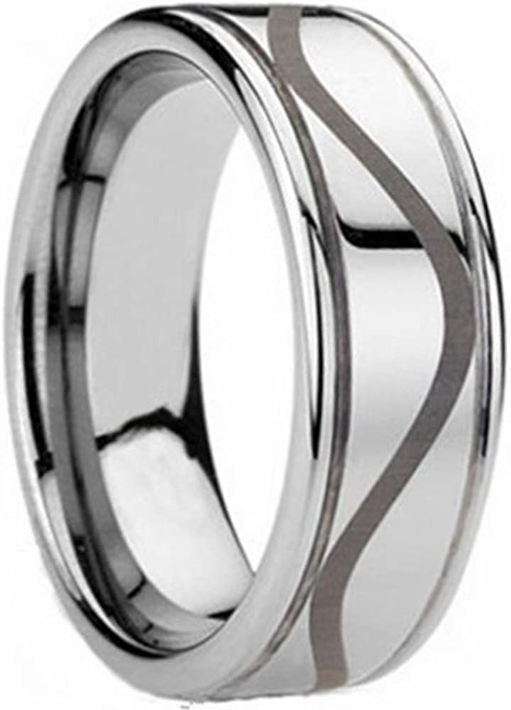 LAMUCH Mens 8mm Silver Tungsten Carbide Rings Double-Groove Wavy Pattern Wedding Band