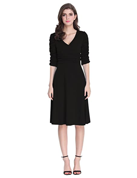 Sue&Joe Women's 3/4 Sleeve Dress Ruched Waist Classy V-Neck Casual ...