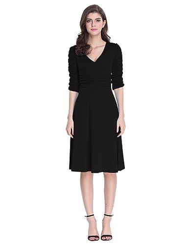 Sue&Joe Women's 3/4 Sleeve Dress Ruched Waist Classy V-Neck Casual Cocktail Dress