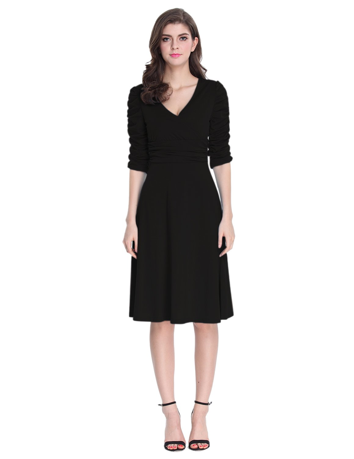Sue&Joe Women's 3/4 Sleeve Dress Ruched Waist Classy V-Neck Casual Cocktail Dress, Black, TagsizeS=USsize2