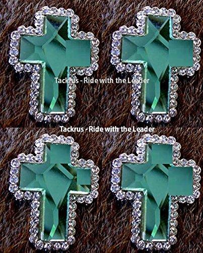 4-cross-conchos-rhinestone-horse-saddle-western-bridle-tack-rodeo-emerald-co408