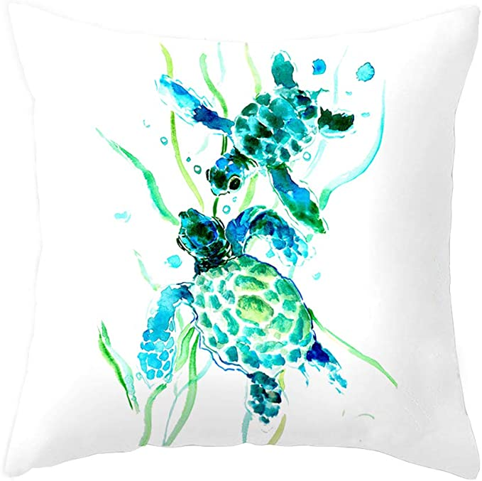 Sea Turtle Throw Pillow Cover Summer Ocean Theme Decor Cushion Case Super Soft Square Decorative Pillow Covers For Home Sofa Couch 18 X 18 Turtle 3 Home Kitchen Amazon Com