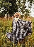 "EASTSURE Knit Acrylic Blanket Bulky Throw Hand-Made Chunky Pet Bed Chair Mat Rug,Dark Grey,32""x40"""