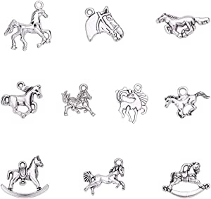 PH PandaHall 100pcs 10 Style Horse Charms Pendants Antique Silver Tibetan Alloy Animals Horse Equestrian Beads Charms for DIY Bracelet Necklace Jewelry Making