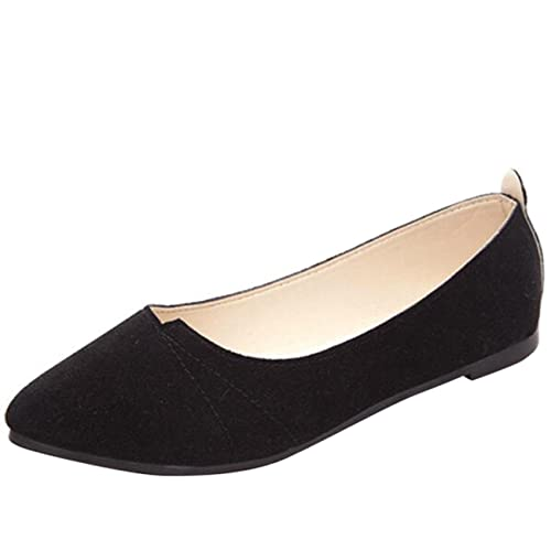 732d4a123 Mashiaoyi Women's Pointed-Toe Flat Slip-on Suede Ballet Flats US 4 Black