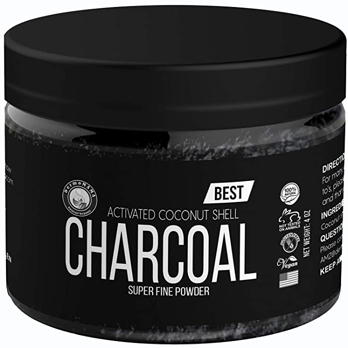 Organic Activated Coconut Shell Charcoal Powder by Dermomama, Food Grade, For Toothpaste, Soap Making, Natural Teeth Whitening Solution, Detox, Skin Cleanser, DIY Peel Off Mask, Blackhead Remover 4oz