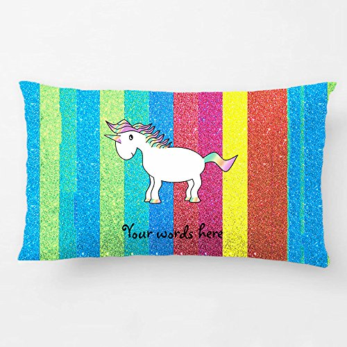 ALEX Throw Pillow Case Decorative Cushion Cover Cotton Polyester Chair Rectangle Pillowcase Design With Unicorn With Rainbow Glitter Stripes Custom Pillow Case Print Double Side Sized 12X20 (Awesome Halloween Cover Photos)