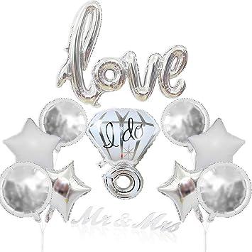 DE Party Luftballons Valentinstag Deko Romantisch Brief Diamantring Folienballon