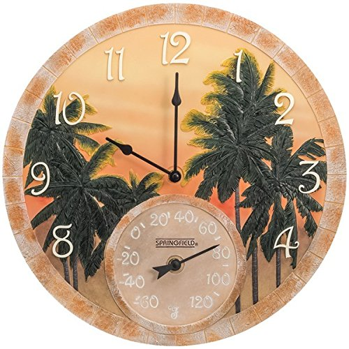 SPRINGFIELD 92669 14'' Poly Resin Clock with Thermometer (Coconut Bay)