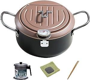 Tempura Fryer Pot, With Removable Oil Drip Drainer Rack, Non Stick Coating Temperature Control Fryer - Save Oil Splash-Proof