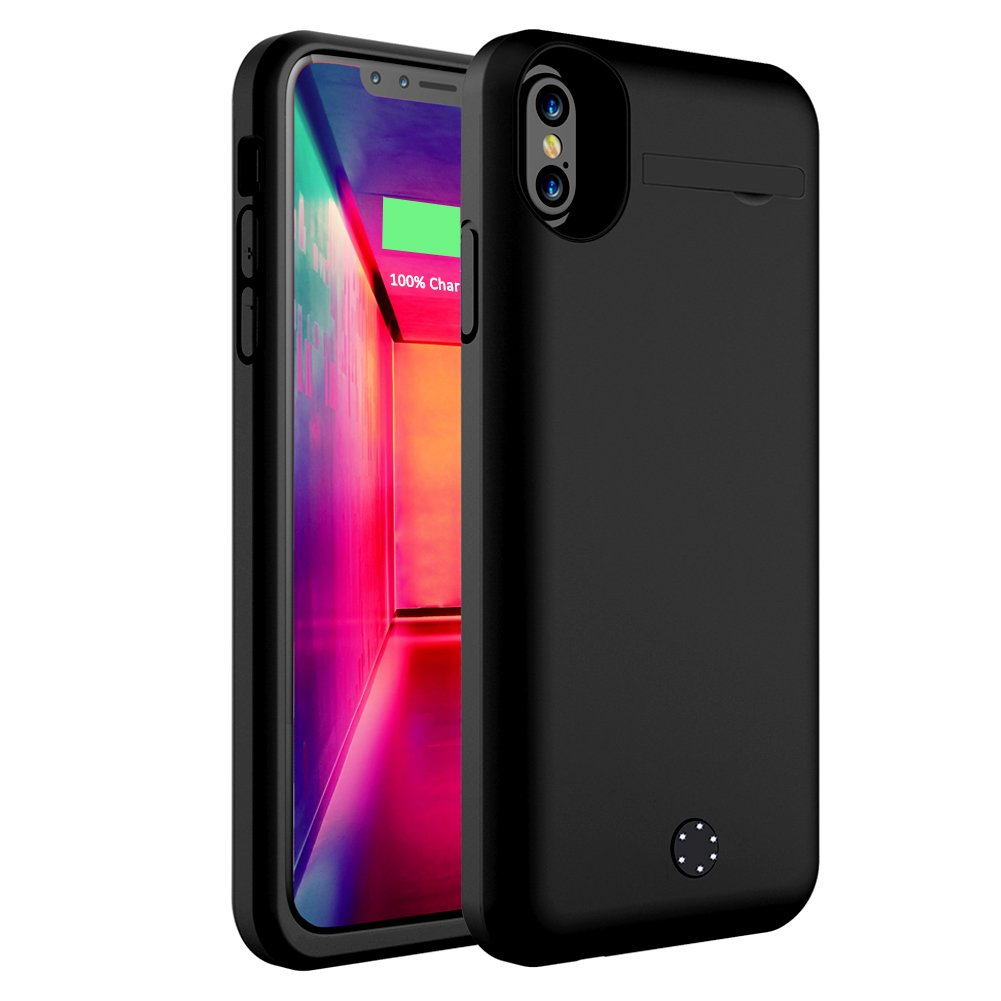 iPhone X Battery Case, ZTESY iPhone X 5000mAh Capacity Extended Charger Case Rechargeable Charging Case with Kickstand for iPhone X -Black by ZTESY (Image #1)