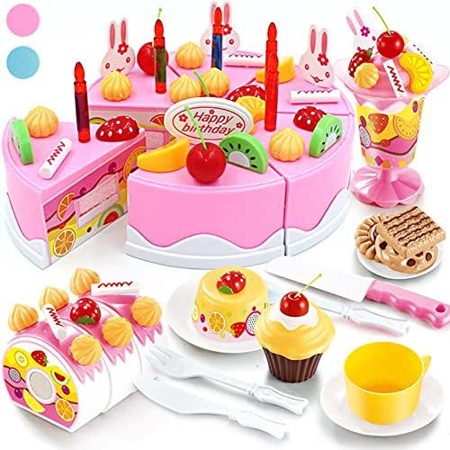 Seoaura Pretend Play Toys for Kids - DIY Cutting Birthday Cake Food Toy Set of 75pcs for Children Early Education - Safe & Non-Toxic (Pink)