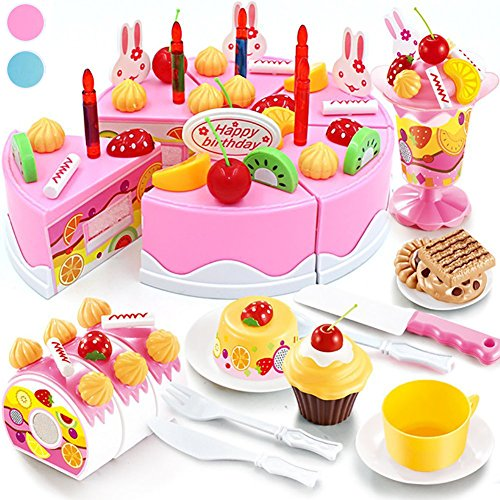 Seoaura Pretend Play Toys for Kids - DIY Cutting Birthday Cake Food Toy Set of 75pcs for Children Early Education - Safe & Non-Toxic - Cake Set Play Food