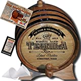 Hot New Design - Personalized American Oak Aging Barrel''MADE BY'' American Oak Barrel - Design 104: Barrel Aged Tequila - 2018 Barrel Aged Series (1 Liter)
