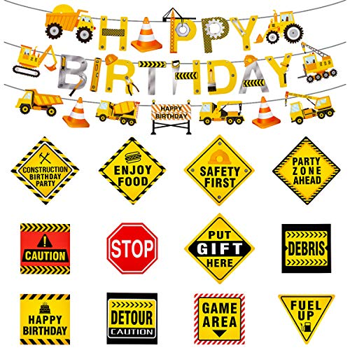 ANPHSIN 15Pcs Construction Themed Party Signs-Traffic Sign Cutouts Decorations Kits Set for Kids Birthday and Bedroom Decorations -