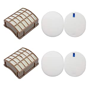 Lemige Vacuum Filters Replacement Set for Shark Navigator Rotator Professional NV70 NV71 NV80 NV90 NV95 UV420, Compare to Part # XHF80&XFF80, 2 HEPA Filters +2 Foam Filters + 2 Felt Filters