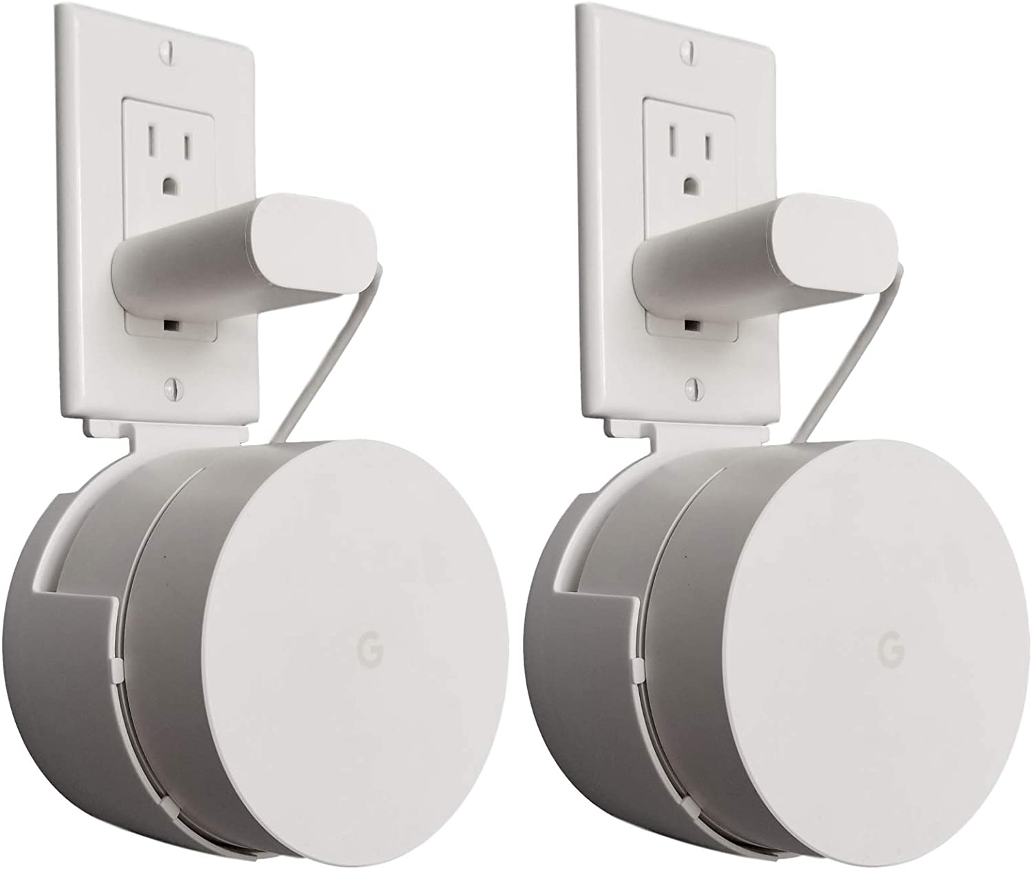 Dot Genie Google WiFi Outlet Holder Mount [Pro Version]: The Strongest, Most Versatile and Attractive Mount Stand Holder for Google WiFi. Great for Home and Businesses! Still No Screws! (1-Pack)