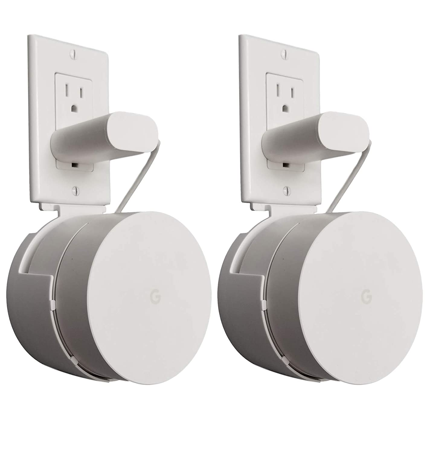 Dot Genie Google WiFi Outlet Holder Mount [Pro Version]: The Strongest, Most Versatile and Attractive Mount Stand Holder for Google WiFi. Great for Home and Businesses! Still No Screws! (2-Pack)