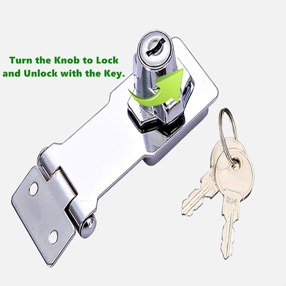 Cerradura de seguridad para puerta de armario de armario y puerta de grapas de 2 piezas con llaves cromadas de 4