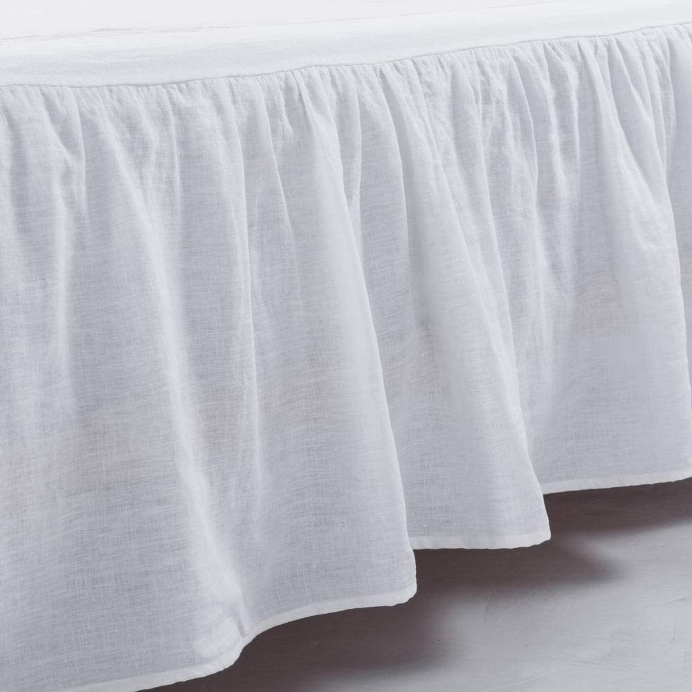 Meadow Park Washed French Linen Bed Skirt Dust Ruffle King Size Super Soft Ruffle Style White Color Kitchen Dining