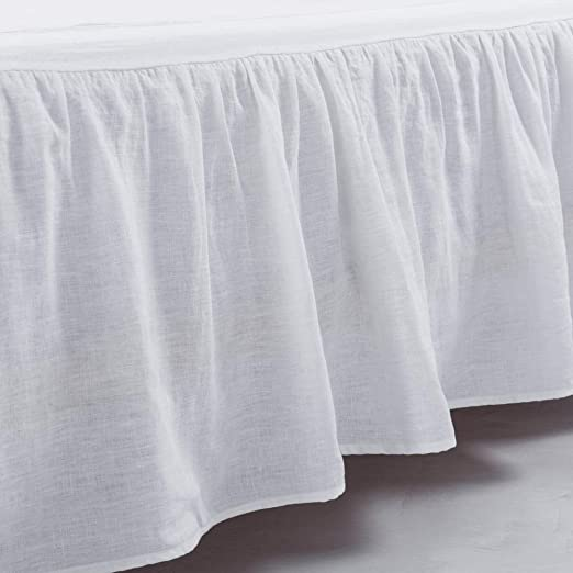 Amazon.com: meadow park Washed French Linen Bed Skirt, Dust Ruffle